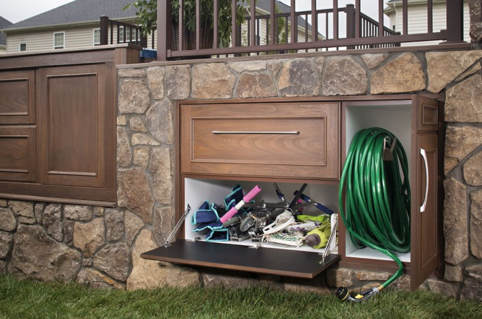 Trex Outdoor Storage cabinets give you a beautiful place to store unsightly items out of view